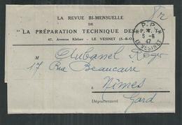 Bande Journal La Préparation Technique Des P T T Oblitération Le Vesinet P.P  (Yvelines) 5/06/1947 - Postmark Collection (Covers)