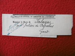 BJ GRIFFE MINISTERE DE L INTERIEUR CACHET St JULIEN DE PEYROLAS 1887 - Postmark Collection (Covers)