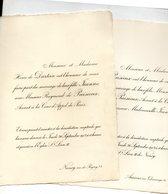 Mariage 1912 Deux Feuilles De Dartein Avec Raymond De Puisieux Nancy Amiens Eglise De Saint Léon IX Longwy - Wedding