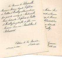 Mariage 1912 Deux Feuilles De Blairville Lefebvre De Lattre D'Hailly Van Pradelles De Palmaert Lapugnoy Pas-de-Calais Eb - Wedding