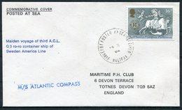 1984 GB M/S ATLANTIC COMPASS Ship, Sweden - America Line. Maiden Voyage Paquebot Halifax Cover - 1952-.... (Elizabeth II)