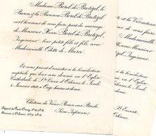 Mariage 1912 Deux Feuilles Henri Borel De Bretizel Odette De Marcé Château De Vieux-Rouen Sur Bresle Orléans - Wedding
