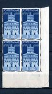 Repubblica Italiana 1946 Avvento Della Repubblica  Quartina Lire 2 Angolo Di Foglio Gomma Integra - 1946-60: Neufs