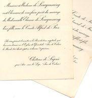 Mariage 1912 Deux Feuilles De Lencquesaing Avec Alfred De Pas Quiestède Château De Laprée Château De Rametz Par Bavai No - Wedding