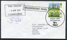 "1995 GB ""ORIANA"" P&O Ship Maiden Voyage Southampton X 2 Covers. PAQUEBOT Commodore Signed - 1952-.... (Elizabeth II)"