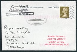 """2004 GB """"QUEEN MARY 2"""" Ship Maiden Voyage Southampton Cover. PAQUEBOT Commodore Signed - 1952-.... (Elizabeth II)"""