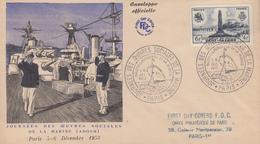 Enveloppe  FDC  Journées  Des  Oeuvres  Sociales  De  La  Marine   PARIS    1953 - Postmark Collection (Covers)
