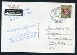 1984 GB South Africa, M/S ASTOR Ship Postcard. Maiden Voyage Southampton Paquebot - 1952-.... (Elizabeth II)