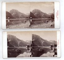 AK-1750/ 2 X  Raibler-See Kärnten  Stereofoto V Alois Beer ~ 1900 - Stereoscopic