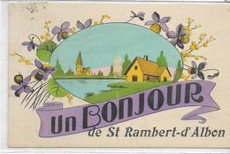 26 SAINT-RAMBERT-D'ALBON . Un Bonjour Du Village En Fleurs , Fait à La Main , édit : MGA , écrite En 1934 , état Extra - Andere Gemeenten