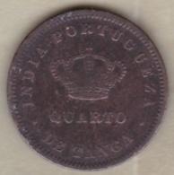 India-Portuguese GOA 1/4 Tanga 1881. Luiz I. KM# 308 - India