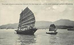 Pays Div -ref T325- Chine - China - Hong Kong -  Boats - Big Cargo Junk And A Small Passenger Sampan - - China (Hong Kong)