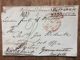 GB 1832 Free Front William Pitt Lennox (Godson Of William Pitt) To Yarmouth Re-directed With Bofesdale Penny Post Mark - Gran Bretagna