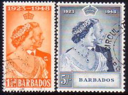BARBADOS 1948 SG #265-66 Compl.set Used Royal Silver Wedding - Barbades (...-1966)