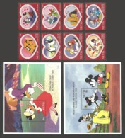 NEVIS 1995 DISNEY SWEETHEARTS BIRDS PENGUINS HORSES HEARTS SET & 2 M/SHEETS MNH - St.Kitts And Nevis ( 1983-...)