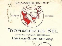 """Facture & Traite 1934 / 39 LONS LE SAUNIER / Fromageries BEL """"La Vache Qui Rit"""" - France"""