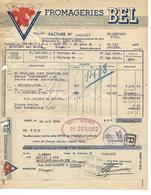 """Facture & Traite 1949 / 75 PARIS Rue D'Anjou / Fromageries BEL """"LA VACHE QUI RIT"""" - France"""