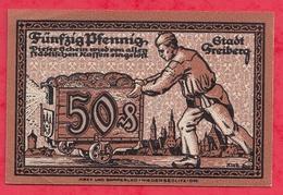 Allemagne 1 Notgeld De 50 Pfenning Stadt Freiberg UNC  N °3863 - Collections