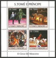 ST THOMAS AND PRINCE 2004 MOSCOW CIRCUS ELEPHANTS BEARS TIGERS M/SHEET MNH - Sao Tome And Principe