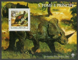 ST THOMAS AND PRINCE 2002 PREHISTORIC ANIMALS SCOUTS THAILAND M/SHEET MNH - Sao Tome And Principe