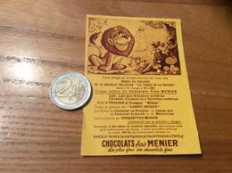 Chromo * Chocolats Fins Menier LES FABLES DE LA FONTAINE - Type 2 (lion) - Menier