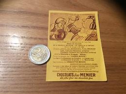 Chromo Chocolats Fins Menier LES FABLES DE LA FONTAINE - Type 3 (homme) - Menier