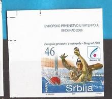 2006 148  WATERPOLO BEOGRAD SPORT  SRBIJA SERBIA JUGOSLAWIEN JUGOSLAVIJA RRR IMPERFORATE  MNH - Wasserball