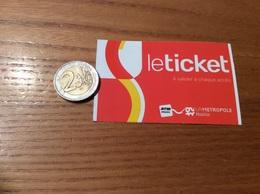 "Ticket De Transport (bus, Métro) RTM ""le Ticket"" Marseille (13) - Subway"