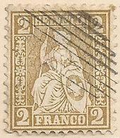 Sitzende Helvetia 37, 2 Rp.braunoliv  EIDG. RAUTE           1867 - Usati