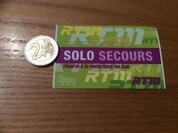 """Ticket De Transport (bus, Métro) RTM """"SOLO SECOURS DASC"""" Marseille (13) - Subway"""
