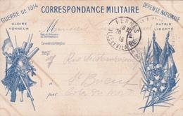 Carte En Franchise Militaire - Guerre De 1914 - Défense Nationale - 2 Drapeaux - Marcophilie (Lettres)