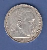 5-Reichsmark Silbermünze Hindenburg Mit Hakenkreuz 1938 F - [ 4] 1933-1945 : Third Reich