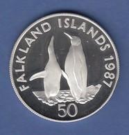 WWF Silber-Gedenkmünze Falkland-Inseln 1987, Pinguin 50 Pence, 28g Ag925, PP  - Monete & Banconote