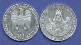 Bundesrepublik 10DM Silber-Gedenkmünze 1990, Kaiser Friedrich Barbarossa - [ 7] 1949-… : RFA - Rep. Fed. Tedesca