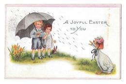 Easter Children Umbrella Rain Dressed Goose Duck Vintage Embossed Whitney Made Postcard - Easter