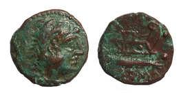[H] +++ AE Quadrans - Q. Caecilius METELLUS. Hercules / Prow Of Galley +++ - Romanas
