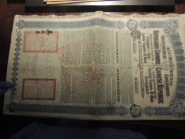 OBLIGATION CHINE CHINA CHEMIN DE FER LUNG-TSING-U-HAI 20 LIVRES 5% GOLD LOAN OF 1913 AVEC COUPONS - Acciones & Títulos