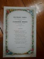 1874 - FAENZA - NOZZE MATRIMONIO TOMBA MINARDI - SONETTO - BIGLIETTO A COLORI - Annunci Di Nozze