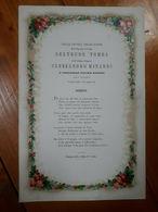 1874 - FAENZA - NOZZE MATRIMONIO TOMBA MINARDI - SONETTO - BIGLIETTO A COLORI - Wedding