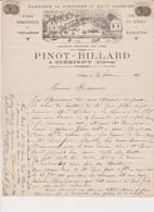 Lettre à En Tête .Fabrique De Limonade Et Eaux Gazeuses .Vins Et Vinaigre .Pinot -Billard à CORBIGNY (Nièvre) - France