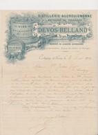 Lettre à En Tête .Distillerie Bourguignonne . Vins , Spiritueux , Marc , Vinaigres ...DEVOS -BELLAND .CORBIGNY (Nièvre) - France
