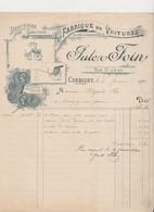 Lettre à En Tête .Fabrique De Voitures De Luxe Et D'industrie .Jules FOIN. Rue St-Jean .CORBIGNY (Nièvre) - France