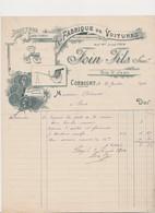 Lettre à En Tête .Fabrique De Voitures De Luxe Et D'industrie . FOIN Fils , Succ . Rue St-Jean .CORBIGNY (Nièvre) - France