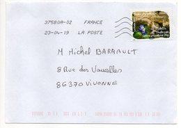 """2019--  Tp  Adhésif De 2009  """" La Violette De Toulouse  """" - Seul  Sur Lettre ... .. - Marcophilie (Lettres)"""