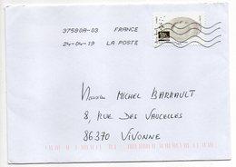 """2019--  Tp  Adhésif  """" Arts De La Table--Plat  Production De Limoges  """" - Seul  Sur Lettre ... .. - Marcophilie (Lettres)"""