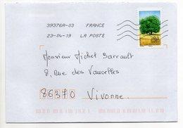 """2019--  Tp  Adhésif  """" Arbres -- Le Charme  """" - Seul  Sur Lettre ... .. - Marcophilie (Lettres)"""