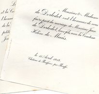 1912 Mariage 2 Feuilles De Dorlodot & De Meeus Hélène Floreffe Namur Namen Bruxelles Neerrepen Corroy-le-Grand - Wedding