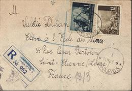 Recommandé Sarajevo CAD 14 IV 43 YT Nezavisna Drzava Hrvatska N° 34 42 A Cachet Bureau Contrôle Douanier Lyon Guerre 39 - Croatia