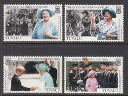 1999 Tuvalu Queen Mother  Complete  Set Of 4 MNH - Tuvalu