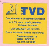 Sticker - TVD Nv - Veiligheidsuitrusting - Gasthuisstraat Beerse - Autocollants